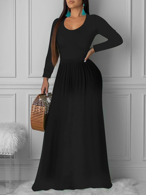 Black Pleated Round Neck Long Sleeve Big Swing Casual