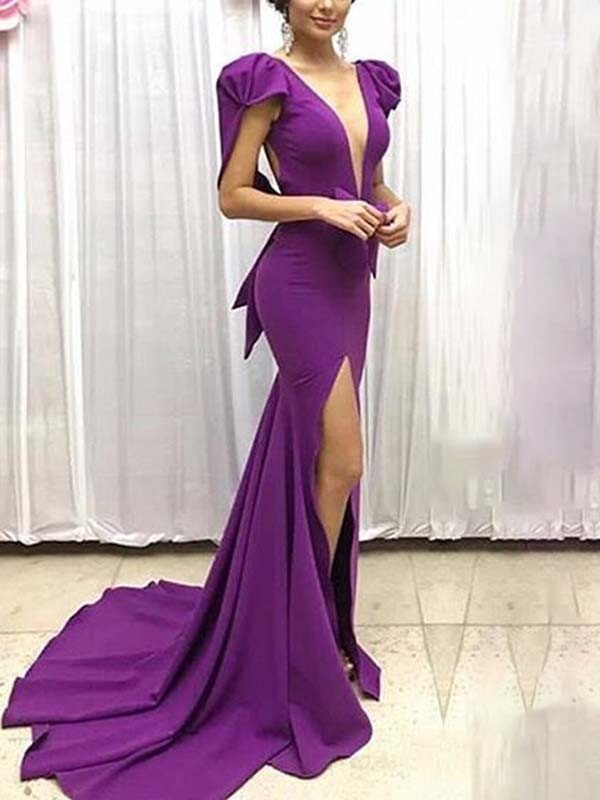 5263f98878a Purple Deep V-neck Puff Sleeves Side Slit Mermaid Formal Homecoming Party  Ball Gown Maxi Dress - Maxi Dresses - Dresses