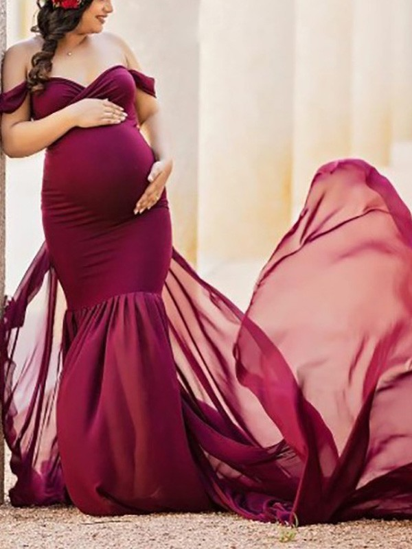 2d8426ee3f8 Burgundy Patchwork Flowy Chiffon Draped Off-shoulder For Babyshower Elegant  Pregnant Maternity Maxi Dress - Maternity Dresses - Women s Maternity
