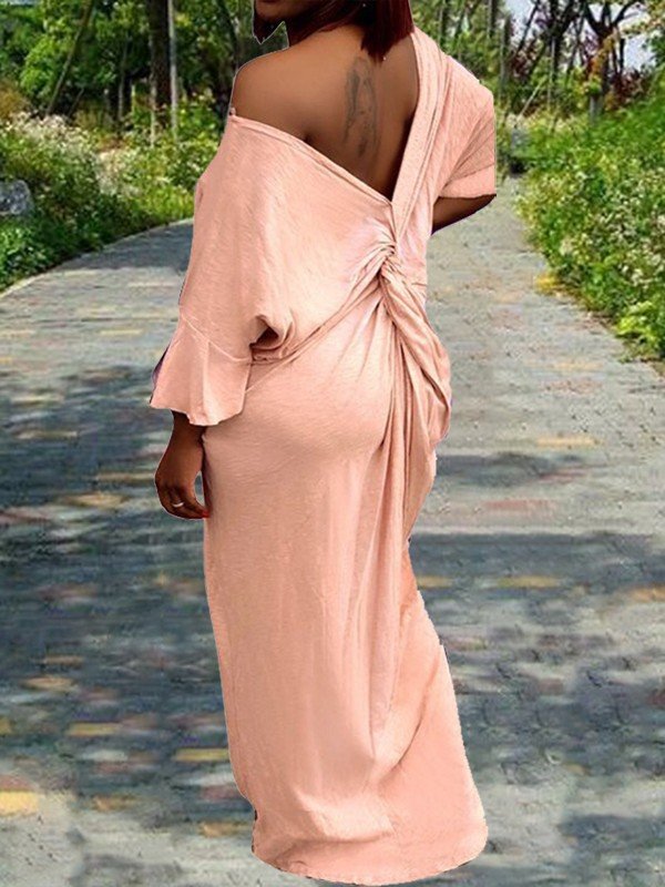 Pink Plus Size Knot Off Shoulder V-neck Elbow Sleeve Big Swing Casual Maxi  Dress