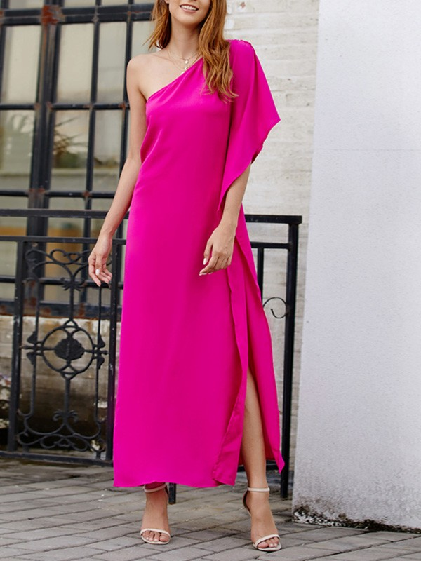 67d141993814 Red Asymmetric Shoulder Side Slit Bodycon Comfy Going out Midi Dress ...