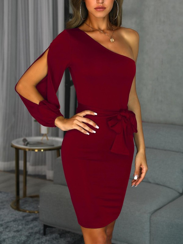 acc325e3328 Wine Red Sashes Bow Cut Out Asymmetric Shoulder Cocktail Party Midi Dress - Midi  Dresses - Dresses