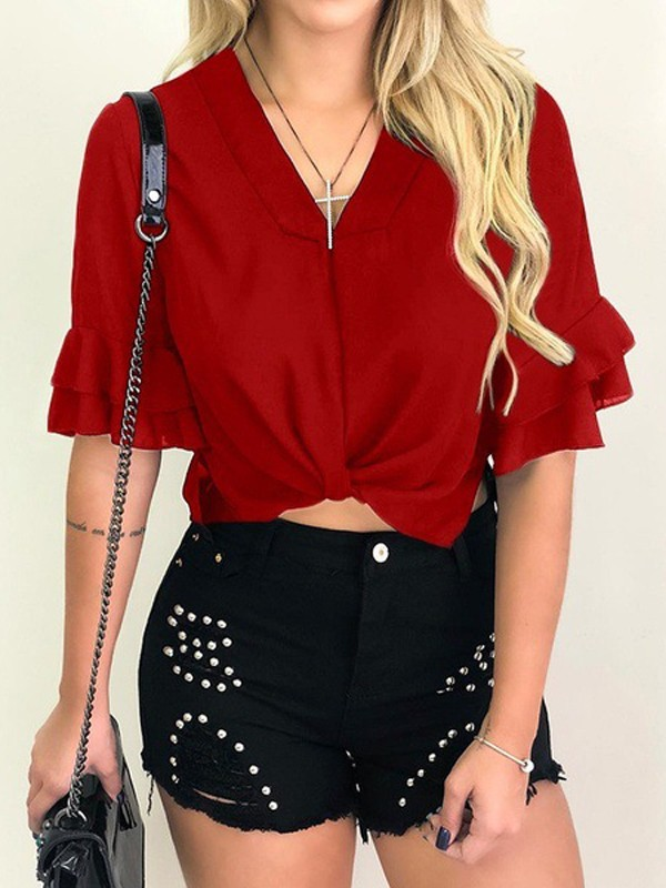 c72971edd0d4a Red Ruffle Ruched V-neck Short Sleeve Going out Crop Blouse - Blouses - Tops