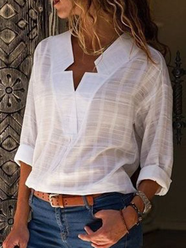 7ebdfbb287a01e White Patchwork V-neck Long Sleeve Fashion Blouse - Blouses - Tops