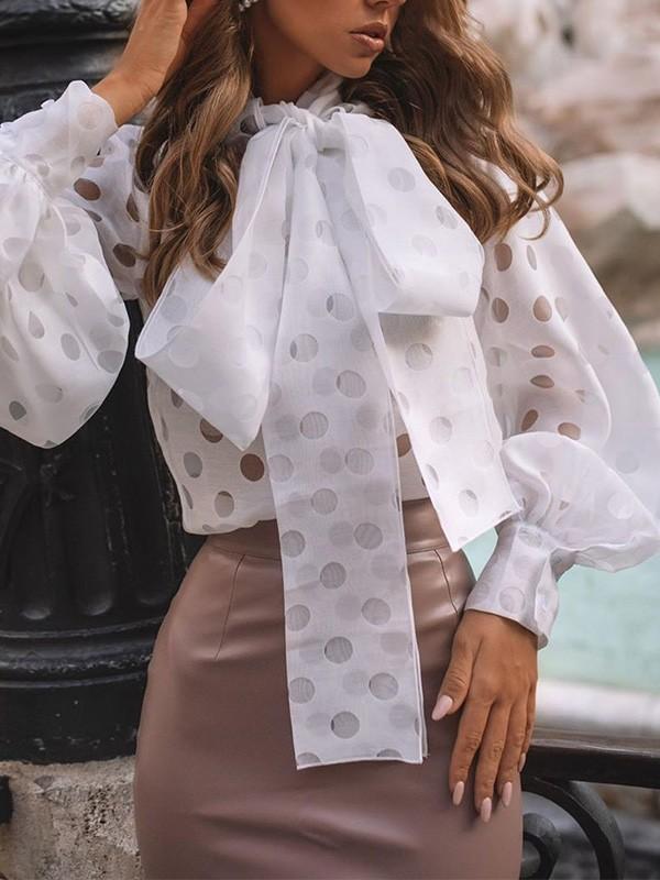Weisse Schleife Tupfen Stehkragen Laternenarmel Elegante Bluse Tops