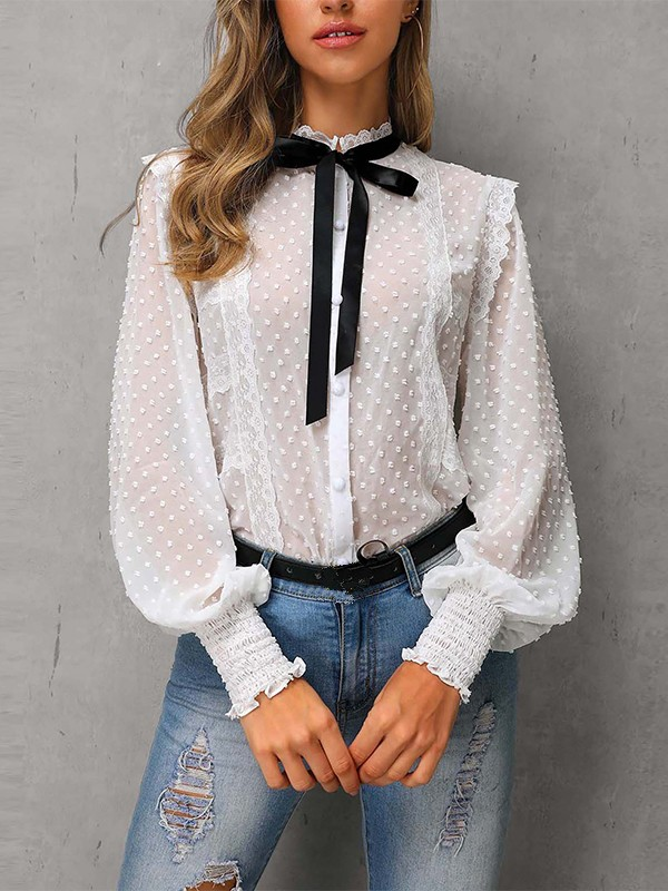 01e6cbed301753 White Patchwork Lace Grenadine Bow Long Sleeve Elegant Blouse - Blouses -  Tops