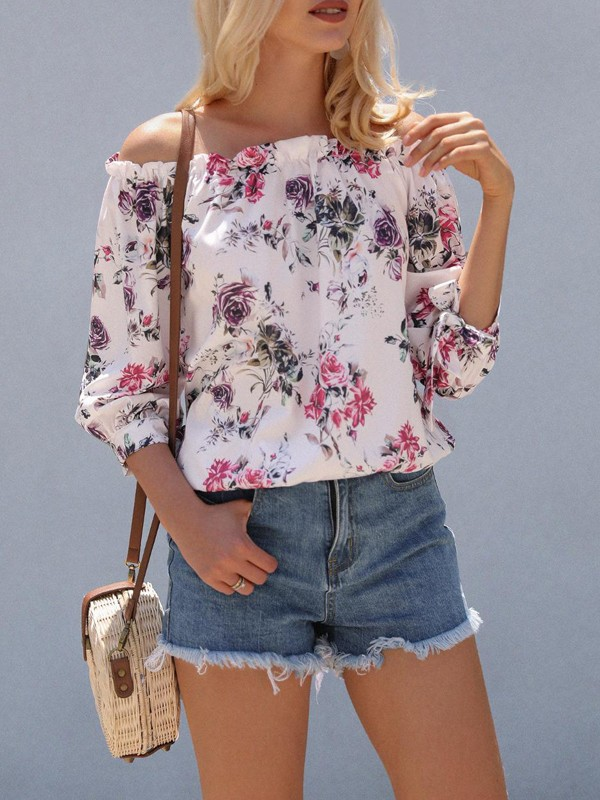 015732edadb9cf Pink Floral Off Shoulder Puff Sleeve Fashion Blouse - Blouses - Tops