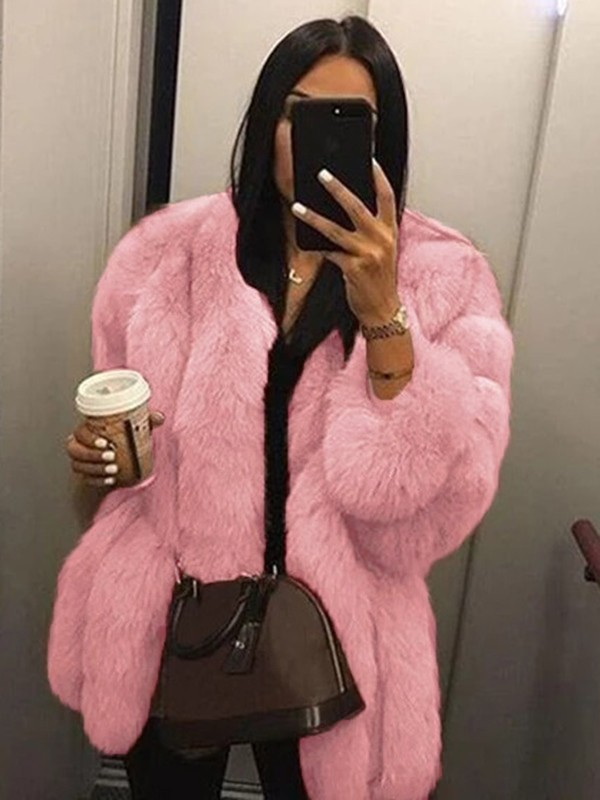 website for discount modern and elegant in fashion clearance prices Pink Warm Thick Faux Fur Long Sleeve Plus Size Bubble Fur Coat Outerwear