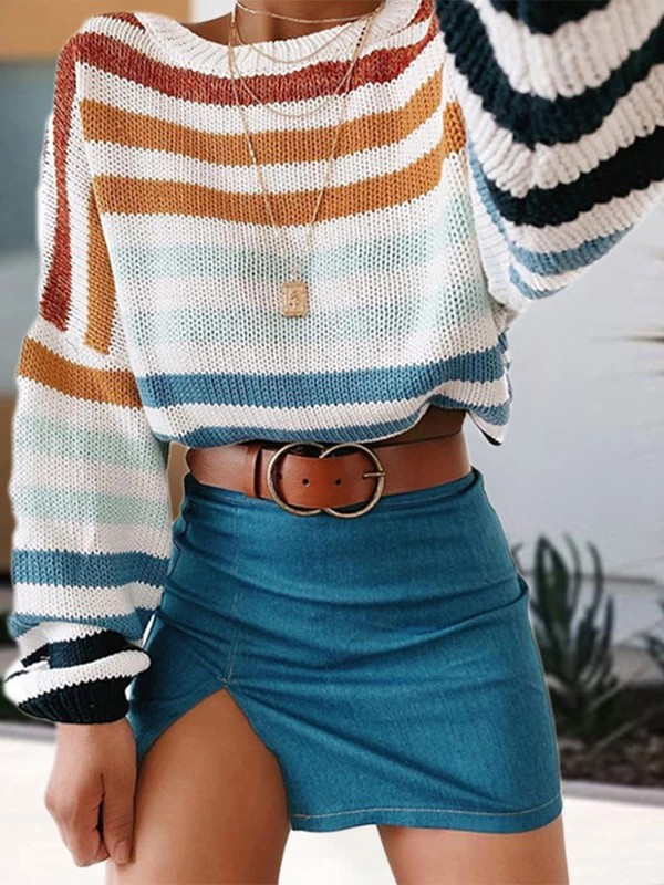 Rainbow Striped Print Round Neck Long Sleeve Cute Pullover Sweater