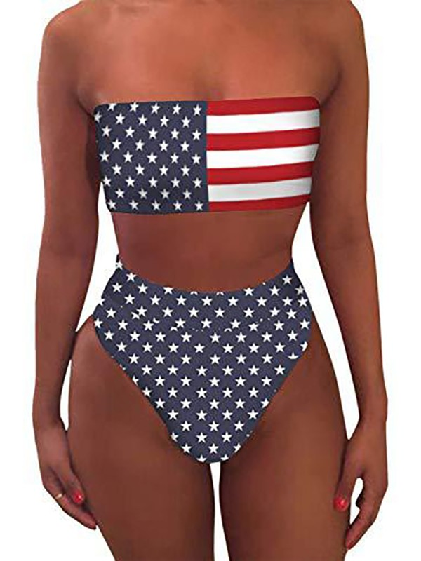 972f69a3422 Navy Blue 4th July American Flag Print Independence Day Bandeau Crop Beach  Tankinis Swimwear