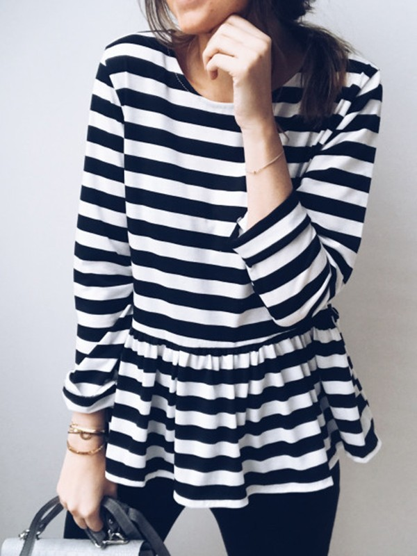 36d0b5d8e6 Black-White Striped Ruffle Round Neck Long Sleeve Going out T-Shirt - T- Shirts - Tops