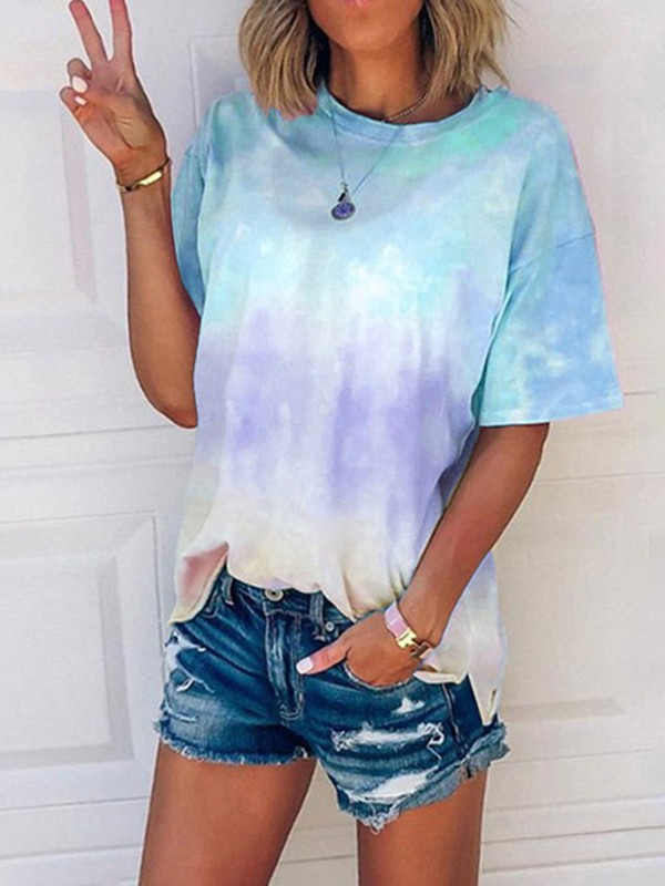 T-shirt tie and dye manches courtes femme