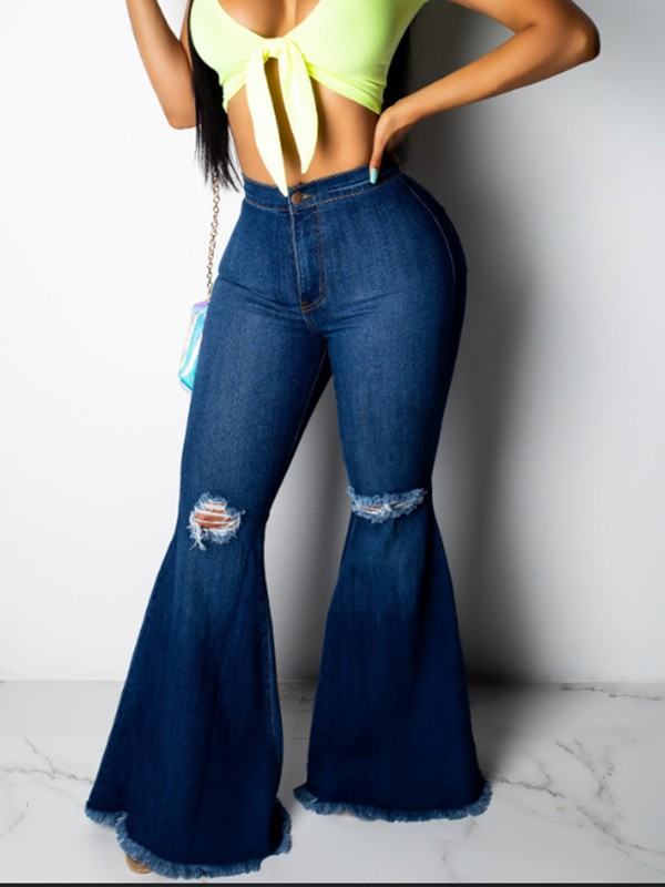 limited price world-wide selection of cheapest price Dark Blue Pockets Ripped Destroyed High Waisted Fashion Long Bell Bottom  Jeans