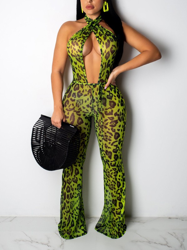 ca01ebfc787 Green Leopard Print Halter Neck Cut Out Backless Party Wide Leg Palazzo  Long Jumpsuit - Jumpsuits - Bottoms