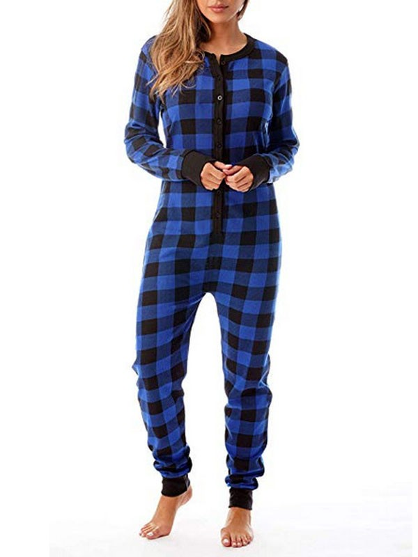 Christmas Onesie.Blue Plaid Buffalo Checkered Buttons Christmas Onesie Long Jumpsuit