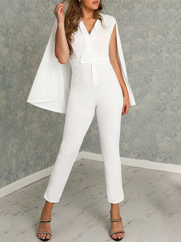 rational construction hot-selling professional official images White Pastel V-neck Sleeveless Cape Elegant Fashion Wedding Long Jumpsuit