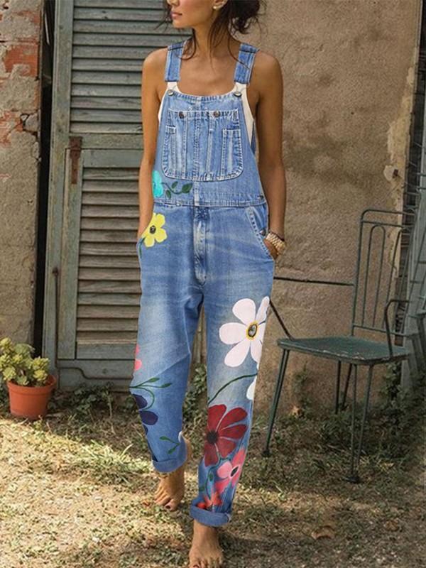 Preis bleibt stabil günstig kaufen größte Auswahl an Hellblau Blumen Taschen Mit Trägern Jeans Overall Denim Latzhose Damen Lang  Jumpsuit Mode