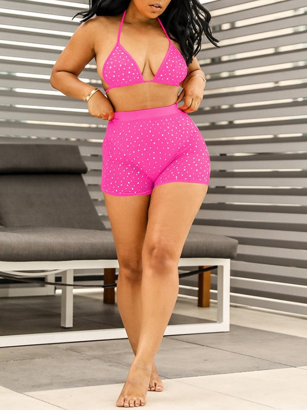 2af81d2d13f Pink Patchwork Sequin Grenadine V-neck Bra Lace-up Two Piece High Waisted  Clubwear Glitter Sparkly Birthday Party Short Jumpsuit Pants - Jumpsuits -  Bottoms
