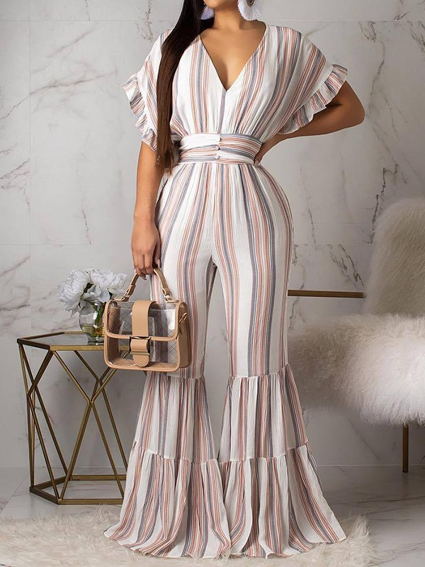 954fa817d54 White Striped Big Swing Ruffle Sleeve V-neck Long Ruffle Flare Bell Bottom  Casual Jumpsuits - Jumpsuits - Bottoms