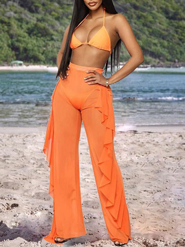 8ef4b50aceb28 Orange Grenadine Sheer Patchwork Cascading Ruffle High Waisted Bikini Cover  Up Long Beach Pants - Pants - Bottoms