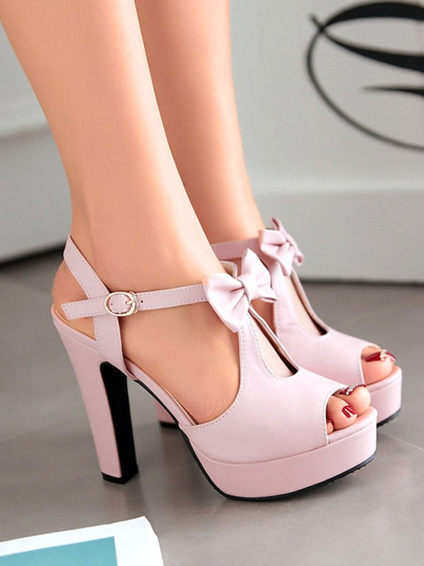 5db97def918 Pink Round Toe Piscine Mouth Chunky Bow Fashion Sweet High-Heeled Shoes