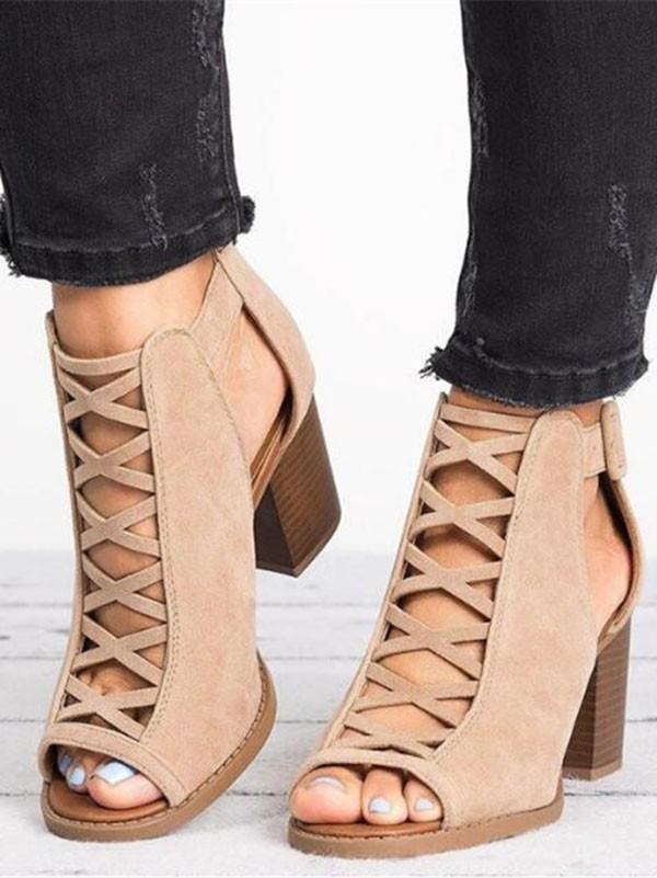 Toe Round Mid Fashion Sandals Heeled Khaki Piscine Mouth Chunky luTFK51Jc3