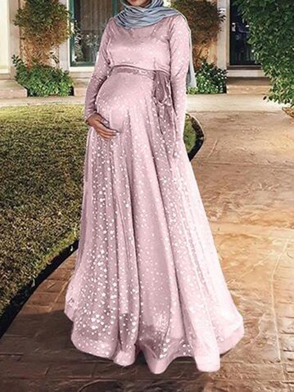 b79d18bf3757d Pink Patchwork Grenadine Sequin Sashes Flowy Muslim Sparkly Banquet Party Maternity  Dress - Maternity Dresses - Women's Maternity