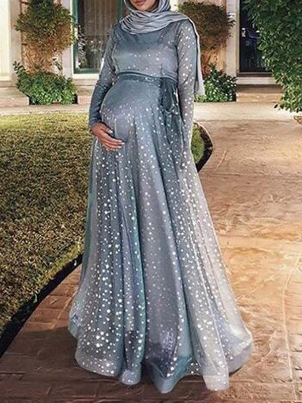 a841425144be7 Blue Patchwork Grenadine Sequin Sashes Flowy Muslim Sparkly Banquet Party  Maternity Dress