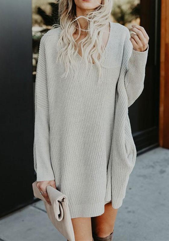 c6099e4fae9 Robe pull en tricot maille avec poches v-cou manches longues ample décontracté  femme gris