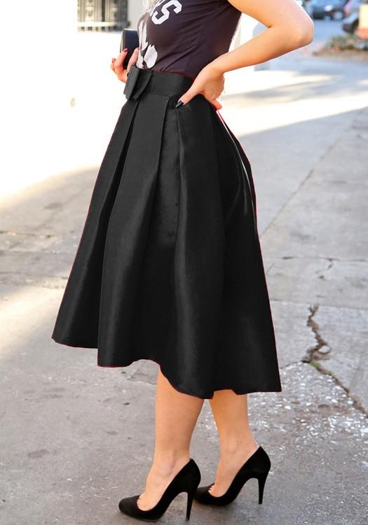 a76217bf25cd9 Mi-longue jupe patineuse plissé avec noeud papillon élégant femme noir