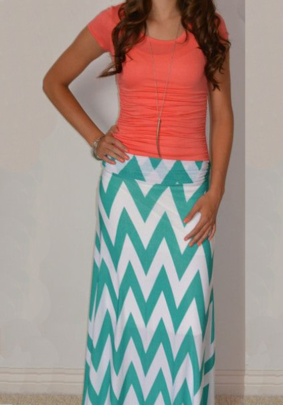 Green-White Striped Print Slim Maxi Skirt - Skirts - Bottoms