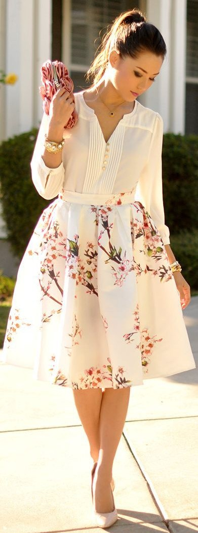 White Flowers Print Pleated High Waisted Sweet Bubble Midi Skirt ...