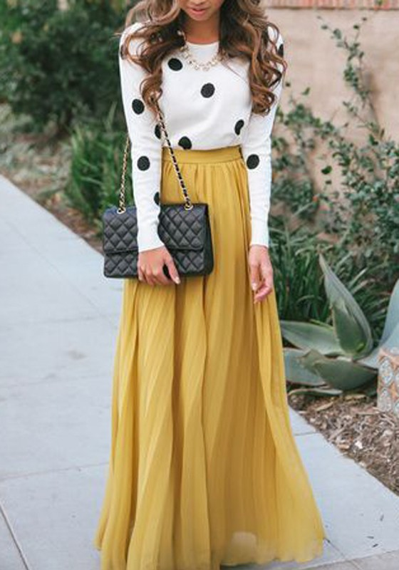 Yellow Plain Pleated Bohemian Popular Loose Flowy Maxi Skirt ...