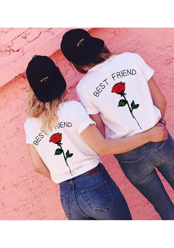 red monogram best friend rose print plus size casual valentine u0026 39 s day cute t-shirt - t-shirts