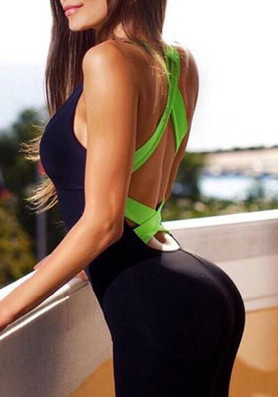 Dos Mode De Fitness Yoga Fluo Et Croisé Noir Combinaison Nu Sport Vert Femme Bandage 9WE2DHIY