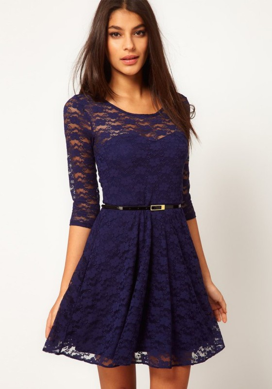Dark Blue Belt Collarless Sevens Sleeve Lace Dress