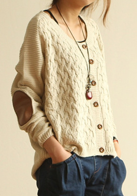 Beige Buttons Epaulet Long Sleeve Loose Acrylic Cardigan ...