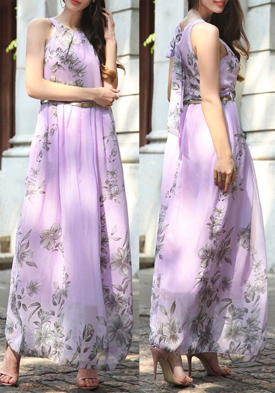 Lavender Purple Fl Print Tie Back Belt Halter Neck Flowy Bohemian Beach Wedding Maxi Dress