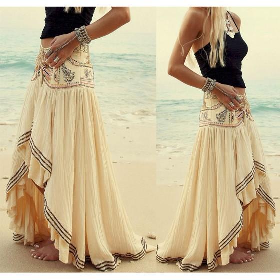 e319dfaad39319 Jupe longue bohemian style ethnique imprimé asymétrique plissé mode vintage  femme blanc cassé