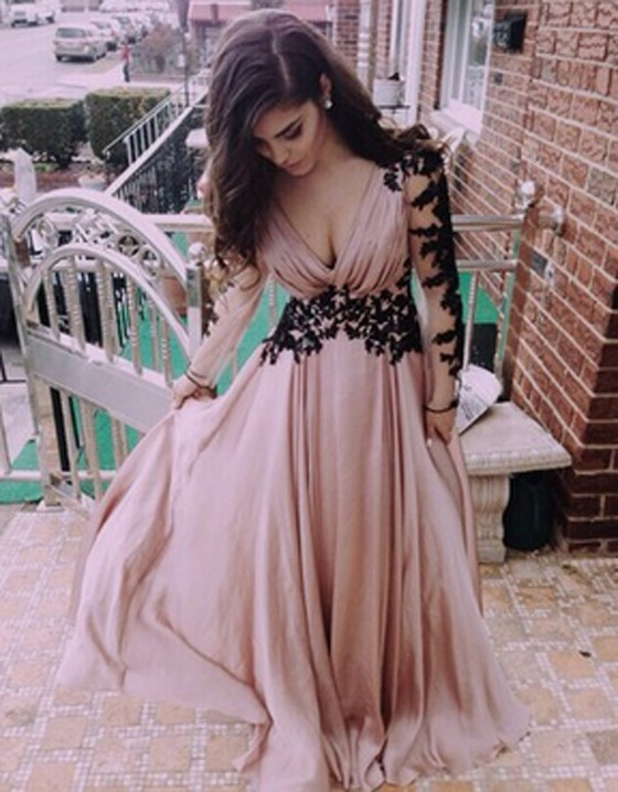 Black cutout pleated lace prom dress