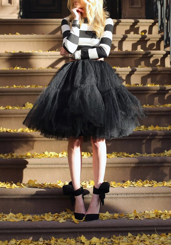 283cf0751ee8bf Black Plain Grenadine Fluffy Puffy Tulle Layers Of Knee Length High Waisted  Adorable Tutu Skirt - Skirts - Bottoms