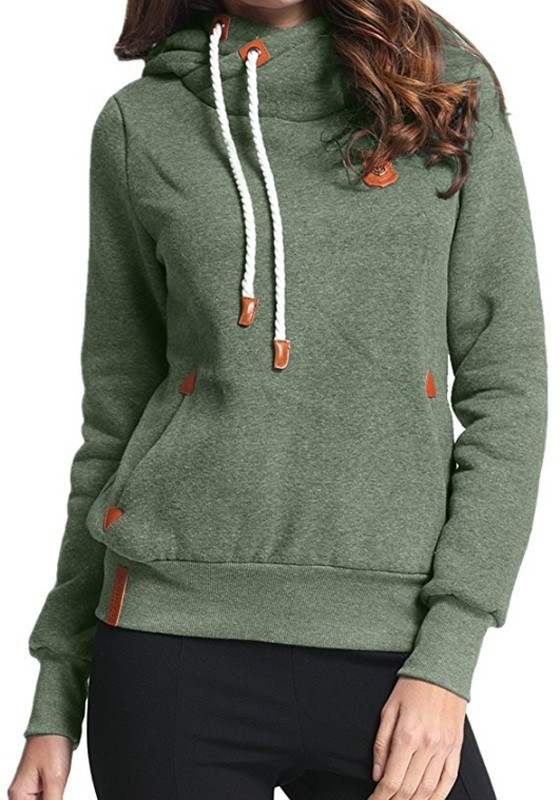 Grüne Taschen Rollkragen Mit Kordel Kapuze Langarm Hoodie Pullover Damen Naketano Sale