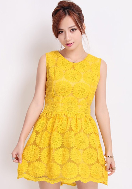 Yellow Sunflower Embroidery Zipper Sleeveless Lace Dress