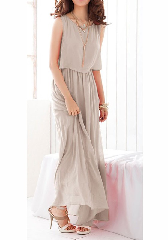 Grey Chiffon Sleeveless Dresses