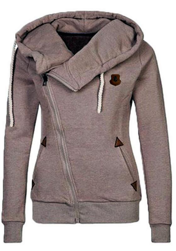 Khaki Pulli Hoodie Hoody Kapuzenpullover Seitliche Reißverschluss Sweatshirt ähnlich Naketano Mode Damen Sale