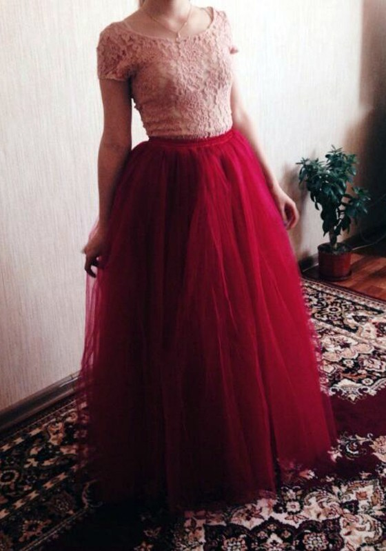 7a9413128b27 Wine Red Plain Grenadine Draped Puffy Tulle High Waisted Fashion Tutu Maxi  Skirt - Skirts - Bottoms