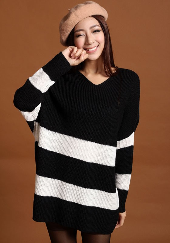 71bce92fc6 Black White Striped Batwing Long Sleeve Loose Knit Sweater - Pullovers -  Sweaters - Tops