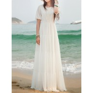 8919a0d6e4d3a White Lace Side Pull Round Neck High Waisted Bohemian Elegant Maxi Dress