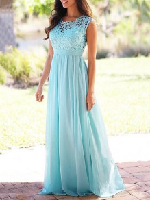 93ad0e2c89a Light Blue Lace Draped High Waisted Cut Out Formal Bridesmaid Cocktail Party  Elegant Maxi Dress
