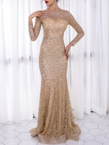 dcd96341c46 Golden Patchwork Grenadine Sequin Pattern Round Neck Long Sleeve Mermaid  Party Slim Formal Maxi Dress